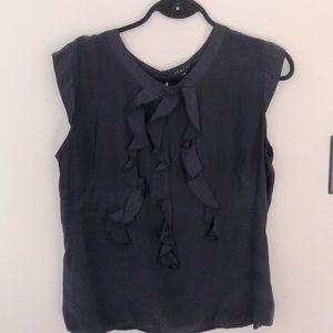 BOGO FREE inspiri 100% silk blouse ruffle front L